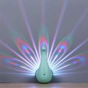 Peacock Projector Light 7 Colors RGB Night Light RC Control USB Rechargeable Easy Wall-mounted Lights Kids Bedroom