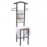 CARO-Möbel Herrendiener JIVO in schwarz/Wildeiche mit Metallgestell