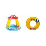 Pachet Piscina Gonflabila pentru Copii Tip Ciupercuta cu Parasolar Model 57114 102 x 89 cm + Colac Gonflabil Swim Ring Model 58231