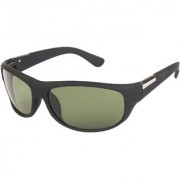 Arzonai Men's UV-400 Protected Sunglasses Hector Sports Wrap Matte Black 64mm (GreenLens) (MA-905-S3)