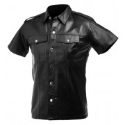 Strict Leather Police Leather Short Sleeved Shirt Black AT145