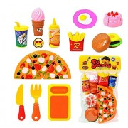 Babytintin Plastic Pretend Food Kitchen Play Toy Set for Kids Cutting Pizza and Vegetables (Multicolour)