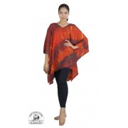 Vibrant Orange Tie Dye Poncho Freesize Beach Tunic Caftan Coverup