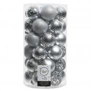Decoris 37x Zilveren kerstballen 6 cm kunststof mix