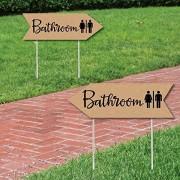 Rustic Wedding Bathroom Signs - Wedding Sign Arrow - Double Sided Directional Yard Signs - Set of 2 Bathroom Signs
