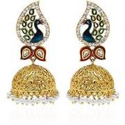 YouBella Jewellery Dancing Peacock Gold Plated Pearl Fancy Party Wear Jhumki / Jhumka Earrings For Women : Best Diwali Gifts Jewellery