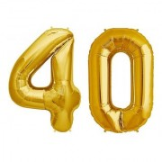 De-Ultimate Solid Golden Color 2 Digit Number (40) 3d Foil Balloon for Birthday Celebration Anniversary Parties