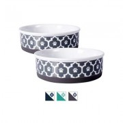 Bone Dry Paw Lattice Print Non-Skid Ceramic Dog & Cat Bowl Set, 1.5-cup, 2 count