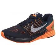 Nike Men's Lunarglide 7 Dark Obsidian/summitt white orange Running Shoes -7.5 UK/India (42 EU)(8.5 US)
