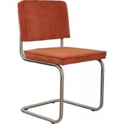 Krzesło RIDGE BRUSHED RIB ORANGE 19A 1100080 Zuiver satynowa rama pomarańczowa sztruksowa tapicerka