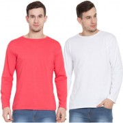 Cliths Orange And White Cotton Round Neck Full Sleeves Tshirts For Men -Set Of 2
