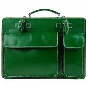 Moderní smaragdově zelená pánská aktovka z pravé italské kůže DIVA