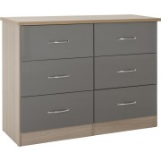Nevada 6 Drawer Chest in Grey Gloss