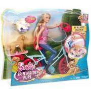 Papusa Barbie cu bicicleta si catelusi CLD94