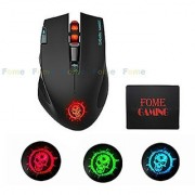 2.4GHz Wireless Gaming Mouse FOME GAMING C20 Tunable Right handed Design 600/1000/1600/2400DPI with 3 Color Breathing Light for LOL CF Compatible with Windows MAC Black+FOME GAMING Mouse Pad