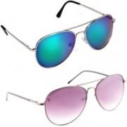Elligator Aviator Sunglasses(Green, Violet)