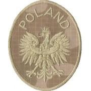 Naszywka na mundur pustynna Godło Orzeł POLAND elipsa rzep