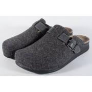 Papuci de casa MUBB din lana gri inchis cu talpic piele naturala (cod 3400.5)