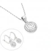 Set bijuterii argint format din pandantiv si cercei rotunzi cu strasuri