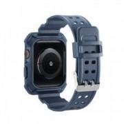 Curea cu husa 2 in 1 sport antisoc din silicon pentru Apple Watch 4 Series 40mm albastru