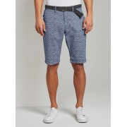 TOM TAILOR Bedrukte Josh Regular Slim Bermuda Shorts met Riem, blue cactus structure design, 38