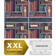 Grafisch behang EDEM 81155BR29 vliesbehang hardvinyl warmdruk in reliëf gestempeld met boeken mat grijs wijnrood beigebruin groen 10,65 m2