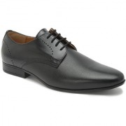Hats Off Accessories Genuine Leather Black Derby Shoes with Textured Vamp & Punches