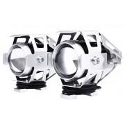 Přídavné světlo LED čočkové stříbrné s krytem, světlo na moto