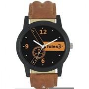 Fules Quartz Analog Black Round Dial Men's Watch 6 MONTH WARRANTYq