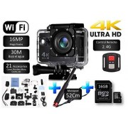 Desconocido Cámara SJ Pro 4K WiFi + Micro SD 16GB + Monopod 52CM Deportiva Y Acuática 60FPS HD 16MP LCD HD 2