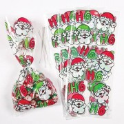 Baker Ross Christmas Cellophane Bags - 20 Small Santa Gift Bags. Ideal to put sweets & small toys In. Bag size 125mm x 290mm