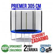 TRAMPOLÍNA 305 CM + REBRÍK + OCHRANNÁ SIEŤ