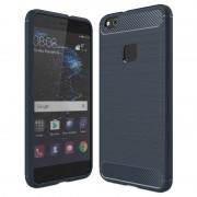 Huawei P10 Lite Brushed TPU Case - Carbon Fiber - Dark Blue