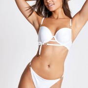 River Island Womens White diamante trim plunge bikini top (8)