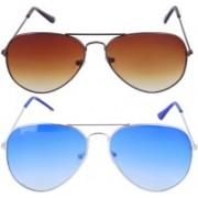 Roadway Aviator Sunglasses(Blue, Brown)
