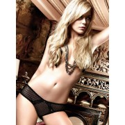 Baci Black Patterned Tulle Panties with Lace Borders and Satin Ribbons 1050 - Medium/Large