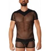 Lookme JUMP STREET 2 Sheer Net Short Sleeved T Shirt Black 21-81