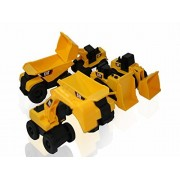 Toy State CAT Caterpillar Construction Toys Mini Machine set of 6, Assorted - Dump Truck, Bulldozer,