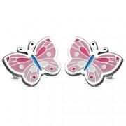 Cercei inox fluturasi roz