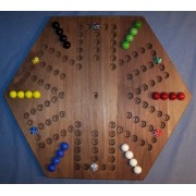 The Puzzle Man Toys W 1938 Wooden Marble Game Board Chinese Checkers Aggravation 20 In. Hexagon Black Walnut