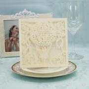 Alcoa Prime 60Pcs Square Laser Cut Balloon Wedding Invitation Cards No Envelope White