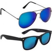 NuVew Aviator, Wayfarer Sunglasses(Blue, Green, Blue)