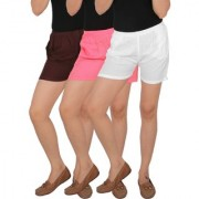 Culture the Dignity Women's Solid Rayon Shorts With Side Pockets Combo of 3 - Brown - Baby Pink - White - C_RSHT_B2P2W - Pack of 3 - Free Size
