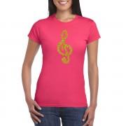 Bellatio Decorations Gouden muziek noot G-sleutel / muziek feest t-shirt / kleding roze dames