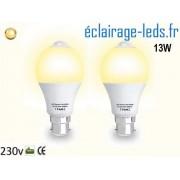 Lot de 2 ampoules LED B22 13 W Capteur de Présence blanc chaud ref dm-26
