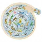 Puzzle rotund din lemn - Animale, 27 piese