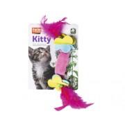 Jucarie cu pene pentru pisici, 7 cm, culori asortate