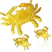 Arany színű, Rák horoszkópos nemesacél medál és fülbevaló szett