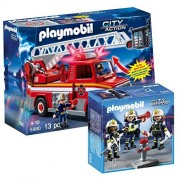 PLAYMOBIL C2 AE PLAYMOBIL Rescue Ladder Unit and Fire Rescue Crew Set