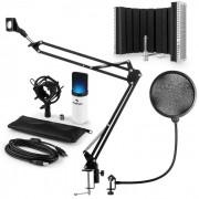 Auna MIC-900WH LED USB set de micrófonos V5 micrófono de condensador protección anti pop brazo de micrófono LED blanco (60001973-V5)
